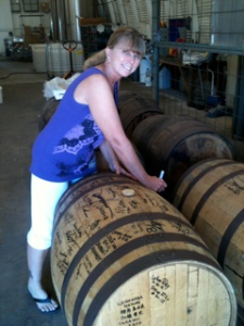 Debbie from Indiana signing the barrel