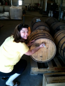 Leann from CA signing the barrel